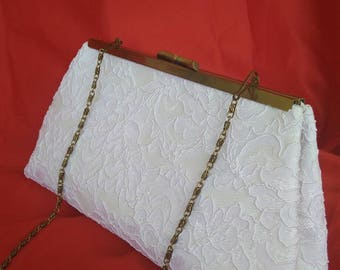 White ivory off white floral lace summer wedding evening bridal clutch PURSE BBsCustomClutches