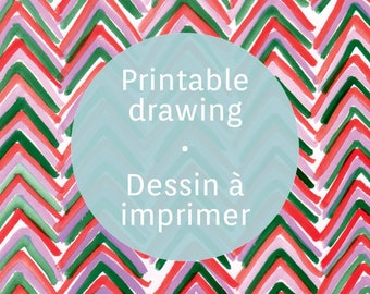 Printable gouache chevron sheet, colorful chevron drawing to print