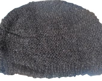 Beanie /Black Hat 100% Alpaca Wool Soft, made Hand / warm/ boho/ ethnic/ Bolivia