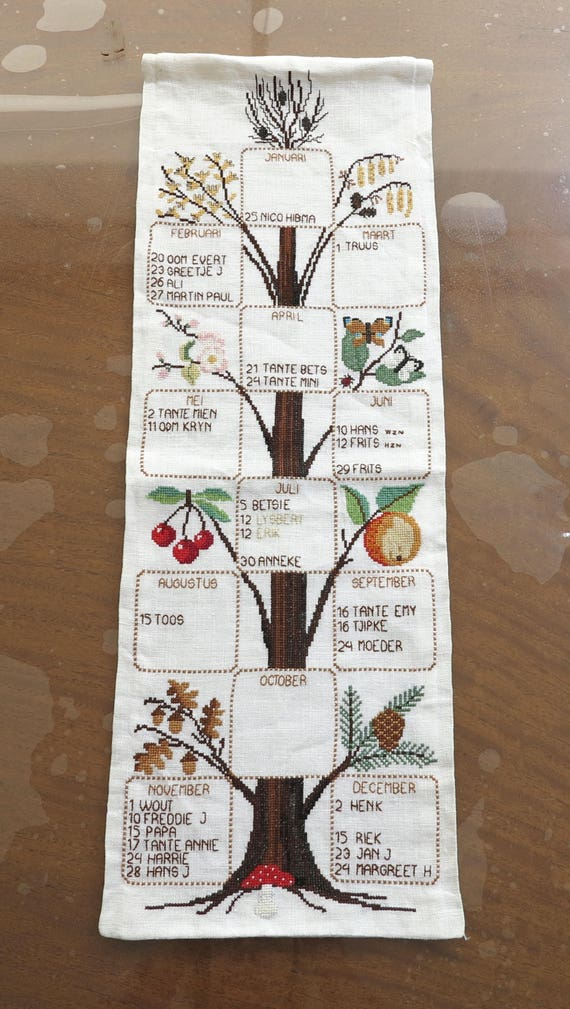Embroidered wall hanging for repurposing / craft activities, calendar with birth dates, pretty seasonal images, expert work, 1970s
