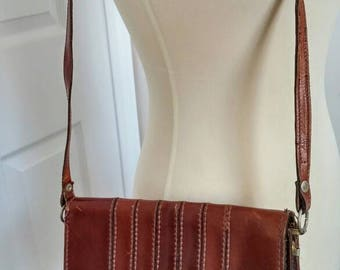 Vintage 70s Tan Italian Leather Hand  Bag - Leather Purse Clutch -Brown Leather Handbag Shoulder Strap - Messenger Bag