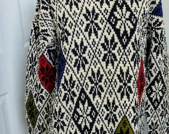 Snowflake Argyle Jones New York Sweater -S/M Vintage 90s Designer Alpine Handknitted Long Pullover Winter Holiday Cotton Linen Blk Wht Top
