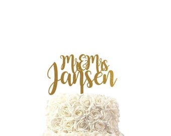 wedding cake toppers for mr & mrs and name handwritten, choose from 30 colors, custom made cake topper