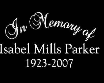 In Memory Of Car Decal...Custom, Personalized Vinyl Decal