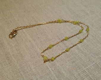 Lemon Topaz Rosary Style Necklace / Minimalist / Boho Chic / Layering Necklace