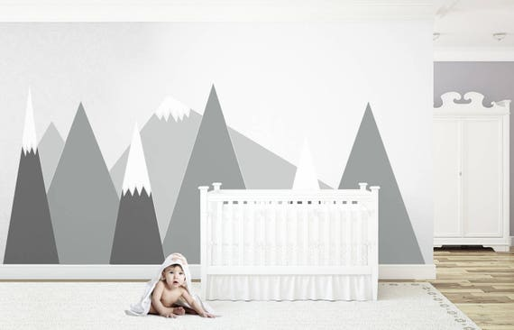 Gray MOUNTAIN Triangle Entire Wall Decal Wall Protection Headboard For kids Washable Customized Self Adhesive Sticker Scandinavian Nursery