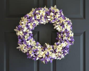 Purple & White Lily Wreath | Front Door Wreaths | Spring Wreath | Easter Wreath | Wedding Wreath Decor | Wreaths | Spring Wreaths