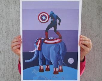 Captain America and Captain Elephant A3 & A4 prints