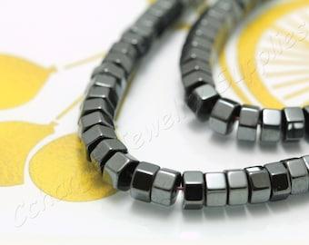 Hexagon Hematite, (6mm x 3mm) Hexagon Flat Hematite Beads, 1 Strand (65 pcs) Black Tiny Hematite Beads, Natural Hematite Beads / HBY-072