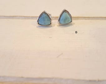 Trillion Larimar Stud Earrings with  925 Sterling Silver  - Dominican Larimar - Calming  Stone ( 4 options available)