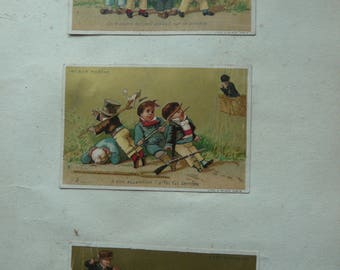 antique French trade card album pierrot hardelquin