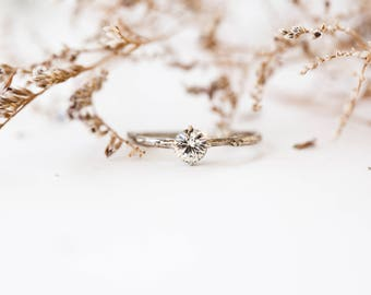 White sapphire 14k gold classic engagement ring, solitaire white sapphire engagement ring, vintage inspired twig engagement ring