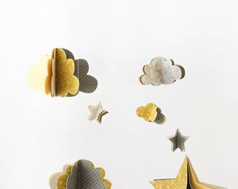 Mobile paper stars and clouds 3D - yellow grey polka dot flowers - limited EDITION - deco gift baby nursery room baby mobile
