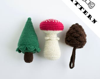 Crochet pattern english green christmas tree red fly agaric mushroom pine cone ornaments amigurumi pretend play toys kids gift homemade