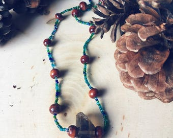 Healing Smokey Quartz Crystal Necklace ~ Long Necklace ~ Beaded Necklace