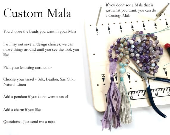 Custom Mala Beads, Design Your Own Mala Necklace, Have A Mala Made Just The Way You Want, Many Bead Choices  And Design Options