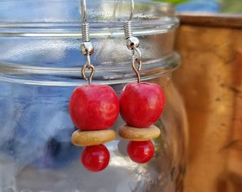 Recycled red wooden beads.  Made using beads from recycled necklaces
