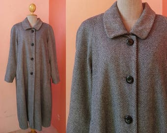 BALMAIN Coat Vintage Wool Coat Women Coat Striped Coat Winter Coat Oversized Coat