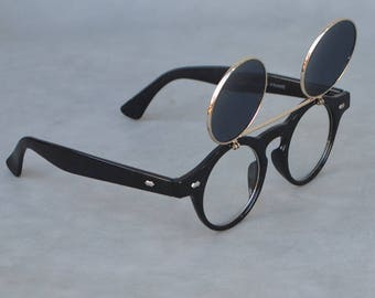 Round Faux Eye Glasses with Tinted Lens Flip-up Option