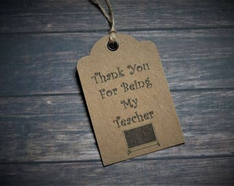 16 x Thank You Teacher Gift Tags Labels Strung with Natural Twine