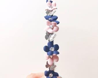 Penny Headband - Butterfly headband - Boho headband - Flower headband - Woodland headband - Pink Flower - Navy Flower - Adult headband