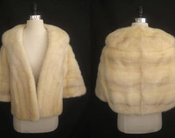 Blonde AZURENE Tourmaline MINK Fur Bolero Stole Jacket Coat Cape Shawl ~ Winter Wedding ~ Luxury Bridal ~ Cream White ~ No monogram!