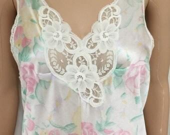 Vintage Vanity Fair Multi-Colored Nylon Floral Print Long Flowing Nightgown M