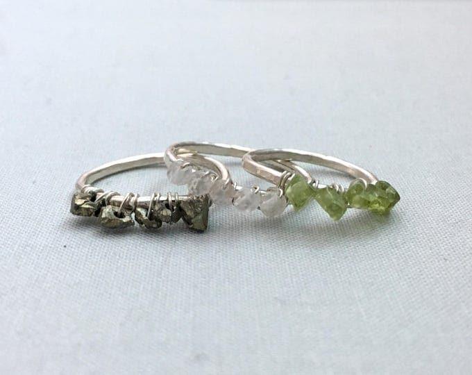 Gemstone Stacking Ring // raw gemstone ring, rose quartz, peridot, pyrite, sterling silver, boho jewelry, raw gemstone ring, crystal ring