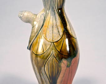 Carved and Inlaid Wood Fired Deco Ewer
