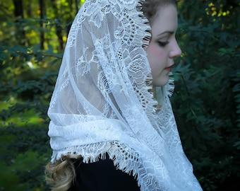 Evintage Veils~ Super Soft White Spanish Style  Lace Chapel Veil Mantilla Infinity Veil Latin Mass