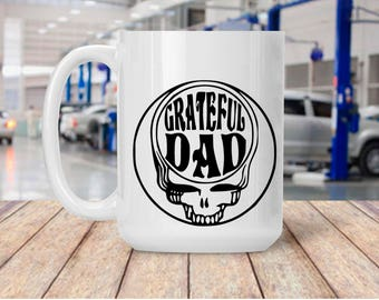 Gift for Dad, Grateful Dad, Skull Mug for Father,  Coffee Mug for Father, Gift for Parent Birthday Anniversary, 11 & 15 Ounces, Gift Wrap