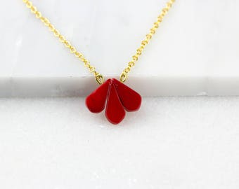 Gold Coral Pendant/ Red Drop Necklace/ Dainty Drop Necklace/ Gold Vermeil Pendant/ Delicate Red Pendant
