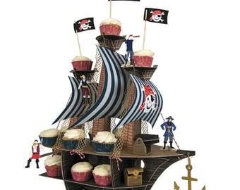 Pirate ship centerpiece-Pirate party-Pirate decor-cupcake stand-cupcake display-Pirate display-Pirate birthday-Meri Meri
