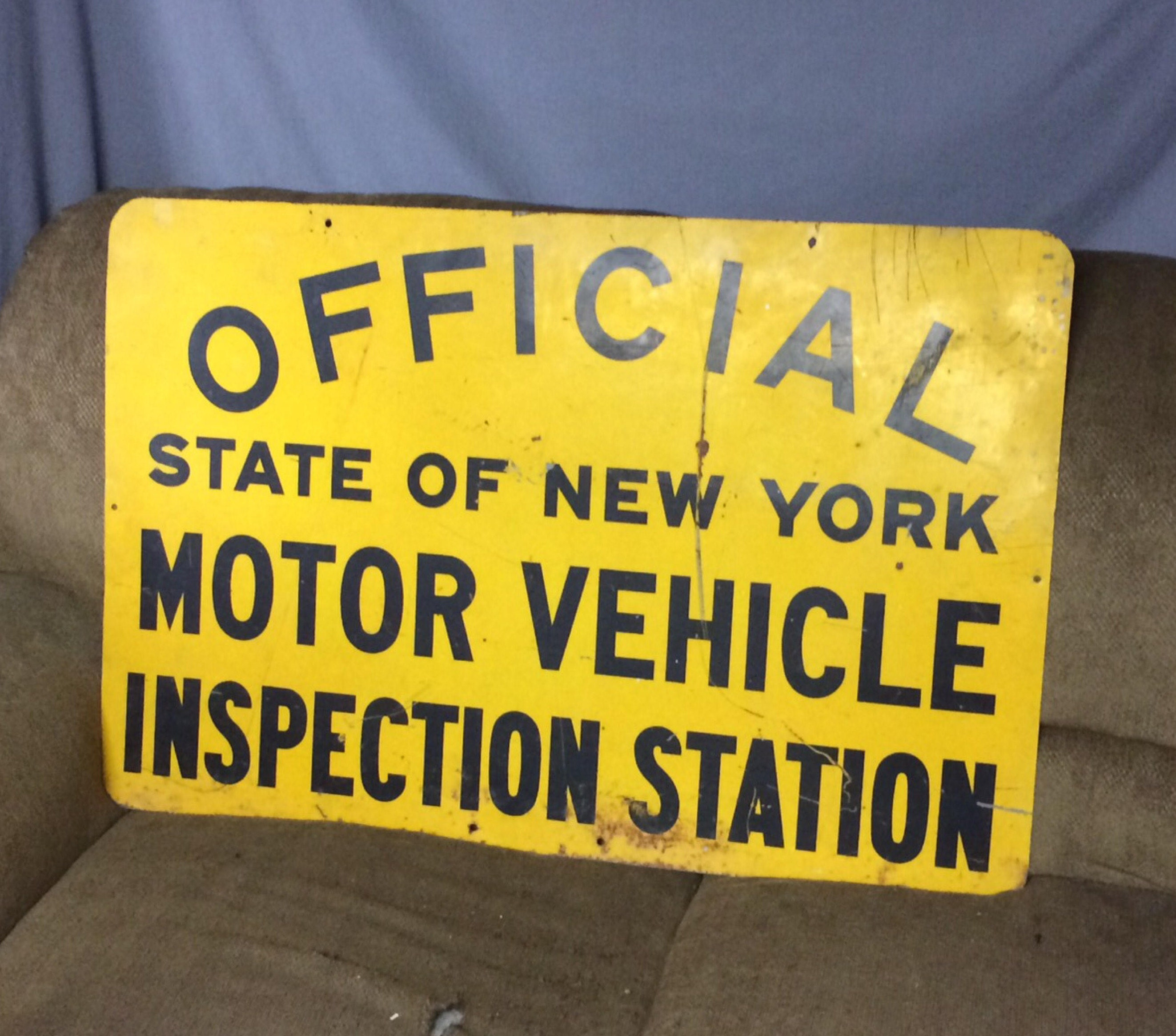 Vintage 2 sided yellow official state of ny inspection station for Motor vehicle inspection station