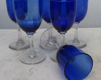 6 deep blue antique glasses Louis Philippe