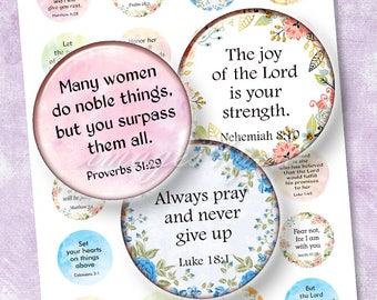 """Bible Verses 1 inch circle Christian digital collage sheet 20mm 25 30mm 1.25"""" 1.5"""" printable download Inspirational quotes bottle cap images"""