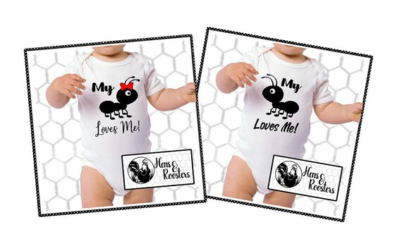 Cute Funny Infant / Baby - My Ant (Aunt) Loves Me Baby Creeper / Bodysuit .... Girl or Boy Available (R4400) #1304