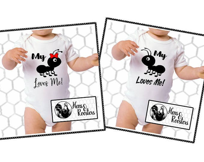 Cute Funny Baby Bodysuit - My Ant (Aunt) Loves Me  / Romper / Creeper / GIFT IDEA / Niece or Nephew / Girl or Boy Available (R4400) #1304