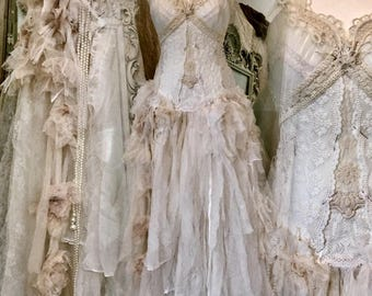 Wedding dress with roses ,antique french lace,pearls,beautiful bridal gown,love dress,fairytale dress ,victorian bridal gown,boho wedding
