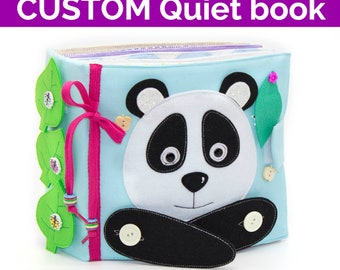 CUSTOM Quiet Book, montessori book, busy book Panda, educational toy, thread quiet book, activity book, soft book, developmental toys