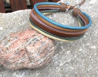 Leather Bracelet, Mens Bracelet, Hemp Bracelet, Men's Leather Bracelet, Women's Leather Braclet JLA-17-A