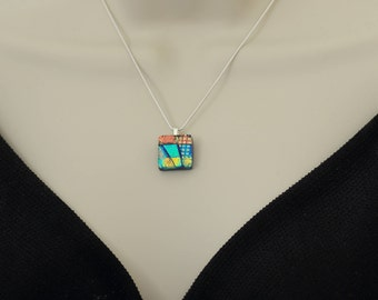 Small Fused Glass Pendant-Elegant Dichroic Glass Necklace-Green and Rainbow Small Oblong Shaped Pendant-Dichroic Glass Jewelry. JBT526