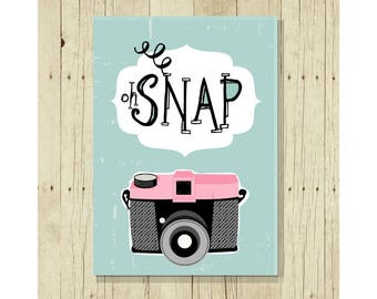 Photography Magnet, Vintage Camera, Fridge Magnets, Oh Snap, Gift for Her, Cute Fridge Magnet, Gifts Under 10, Photographer Gift