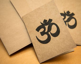 Small Ohm Blank kraft Greeting cards, Blank greeting cards. Zen Cards. Spiritual Art cards. Ohm peace Gift card packs. Unique christmas