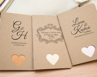 25 Kraft Mini Notebook Favours with hearts. Custom kraft wedding favor place cards. Unique Note pad favours. Kraft personalised favours