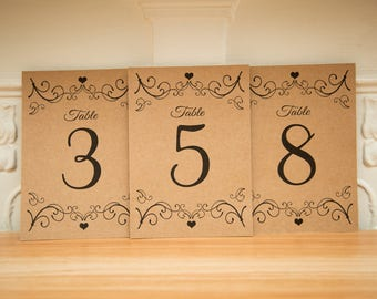 Fancy Kraft Table numbers, pretty wedding decor. Custom Kraft Table numbers.  Kraft wedding centre piece. Design 03. A6 Table Numbers. UK