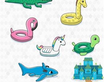 Pool Toys Clipart, Flamingo Clipart, Unicorn Clipart, Turtle, Shark, Giraffe, Crocodile, Pool Party Clip-art, SVG, PNG Transparent