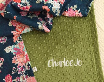 Floral Baby Blanket   Personalized Baby Blanket   Name Baby Blanket   Rose Baby Blanket   Floral Blanket