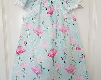 Todder dress, size 2, flamingo print, summer dress, cotton dress,