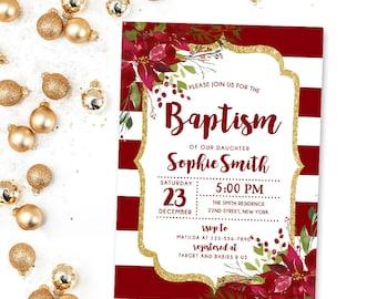 Christmas Baptism Invitation, Winter Baptism Invitation, Girl baptism Holiday Christening Floral Baptism Invite, Christening Invite